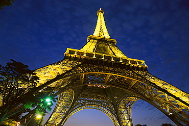 Low angle view at the illuminated Eiffel tower, Paris, France, Europe