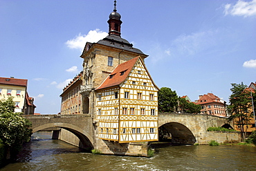 View of the old town hall at Regnitz river, Bamberg, Bavaria, Germany, Europe