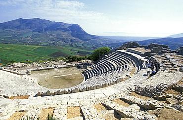Roman theater in the sunlight, Segesta, Sicily, Italy, Europe