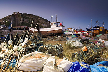Fishing boats on the beach in Hastings, East Sussex, England, Europe
