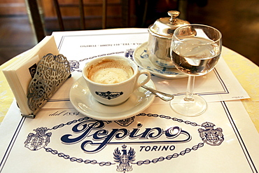 Cup of coffee on a table, Cafe Pepino, Torino, Piedmont, Italy, Europe