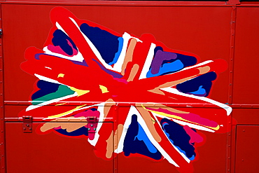 Union Jack on Sightseeing Bus, England, Great Britain, Europe