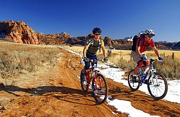 Two people on a mountain bike tour, Gooseberry Trail, Zion National Park, Springdale, Utah, USA