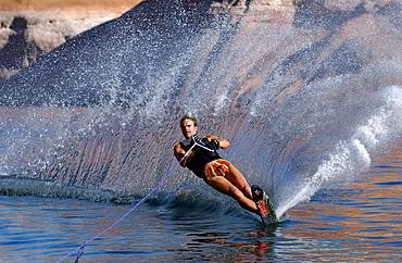 Man on a monoski on Lake Powell, Arizona, USA