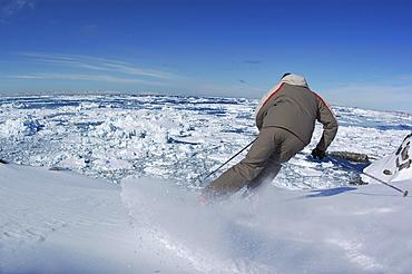 Person skiing, Ilulissat, Greenland