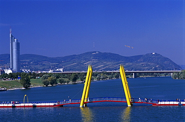 View at Danube, Danube Island, Millenniumtower and Leopoldsberg, Vienna, Austria, Europe