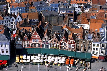 High angle view at street cafes at the market square, Bruges, Flanders, Belgium, Europe