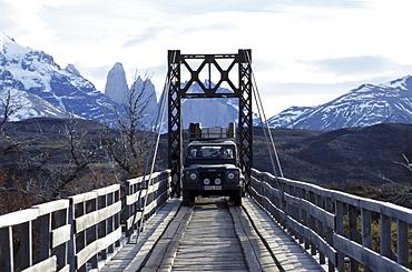 Car on wooden bridge, Torres del Paine, Patagona, Chile, South America, America