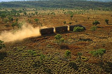 aerial view of cattle truck on dirt road, Kimberley, Western Australia, Australia