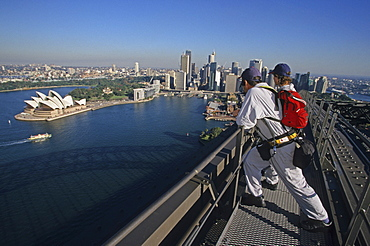 View from Sydney Harbour Bridge, Bridgeclimb is an official tour to the top of the single-arch bridge above the spectacular Sydney Harbour, Circular Quay, Opera House, Harbour Bridge, Sydney, Sydney Harbour, New South Wales, Australia