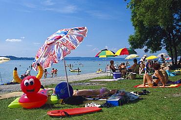 Bathing in Ambach, Starnberger Lake, Starnberg, Upper Bavaria, Bavaria, Germany