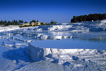 Limestone sinter terraces, Pamukkale, Denizli, Turkey