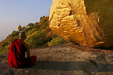 Monk at Golden Rock, Kyaiktiyo Pagoda, Myanmar