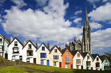 Row of houses, colourful terrace houses with cathedral in the background, West View in Cobh, County Cork, Ireland, Europe