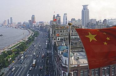 Flag of China, above the Bund, Shanghai, China