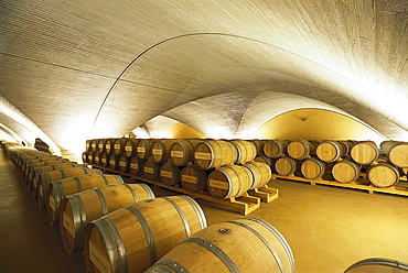 Illuminated cellar vault with wine barrels, Bodega Otazu, Navarra, Spain