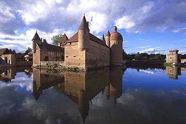 Moated Castle Chateau La Clayette, La Clayette, Burgundy, France