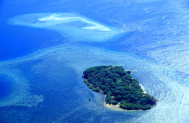 Aerial photo of a tropical Island with sand bank, Santo Coast, Vanuatu, South Pacific