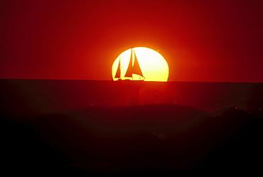 Sailing boat in front of setting sun, Waikiki Beach, Oahu, Hawaii USA, America