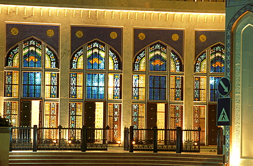 Illuminated stained glass windows of the mosque at night, Muscat, Oman, Middle East, Asia