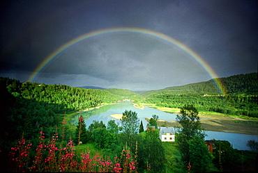 Rainbow over Rana River near Mo I Rana, Mo I Rana, Norway, Scandinavia