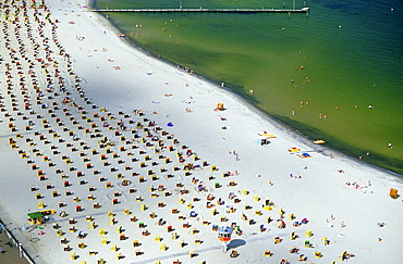 High angle view at beach with beach chairs, Travemuende, Schleswig Holstein, Germany, Europe
