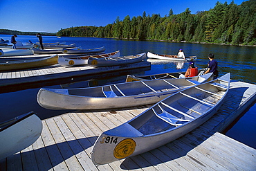 Landing stage for canoes, Canoe Lake, Algonquin Provincial Park, Ontario, Canada, North America, America