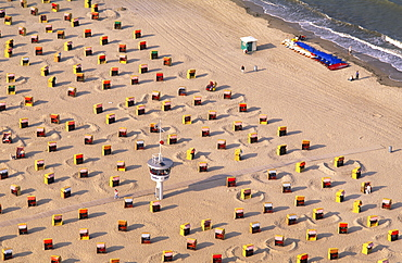 High angle view at the beach of Travemuende, Schleswig Holstein, Germany, Europe