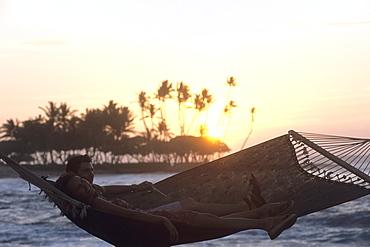 Sunset Hammock Relaxation, The Fairmont Orchid Hotel, Kohala Coast, Big Island Hawaii, Hawaii, USA