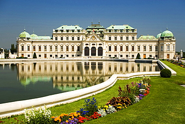 View over the palace ground's water basin at Belvedere Palace, Vienna, Austria