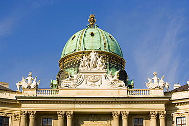The green cupola of the Michaelertrakt in the sunlight, Alte Hofburg, Vienna, Austria
