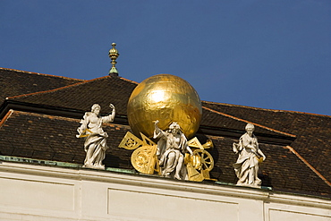 Sculptures on roof of Nationalbibliothek national library, Josefsplatz, Alte Hofburg, Vienna, Austria