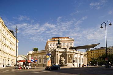 View to Albertina with Albrechtsrampe and Albrechtsbrunnen, Vienna, Austria