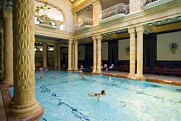 Inside the Gellert Baths, People swimming in the Gellert Baths, Buda, Budapest, Hungary