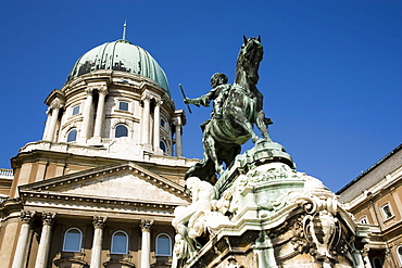 Eugene of Savoy Statue at Royal Palace, Low angle view of the Eugene of Savoy Statue in front of the Royal Palace on Castle Hill, Buda, Budapest, Hungary