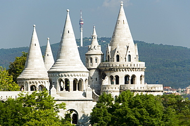 Fishermen's Bastion at Castle Hill, View to the Fishermen's Bastion, symbolising the seven Magyar tribes, at Castle Hill, Buda, Budapest, Hungary
