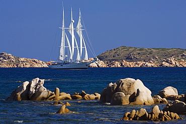 Luxury sailing yacht, Costa Smeralda, Sardinia, Italy