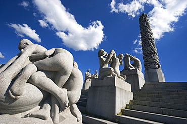 Monolith Plateau, granite sculptures by Gustav Vigeland in Vigeland Park, Oslo, Norway