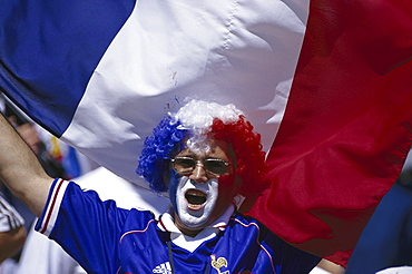 French football fan with flag