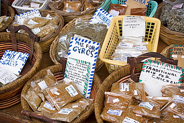 Different greek spices lying in baskets for selling, Zia, Kos, Greece