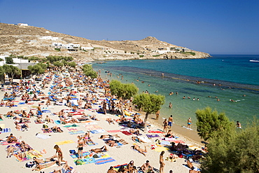 View over the peopled Paradise Beach, Mykonos, Greece