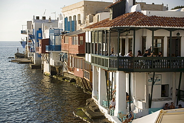Restaurants and bars directly at sea, Little Venice, Mykonos-Town, Mykonos, Greece