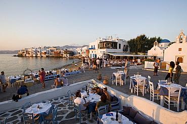 View over restaurants and bars at beach, Little Venice, Mykonos-Town, Mykonos, Greece
