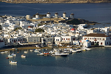 Aerial view of the harbour with windmills and ships, Mykonos-Town, Mykonos, Greece