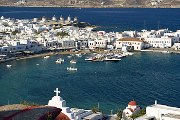 Aerial view of the harbour and the town, Mykonos-Town, Mykonos, Greece