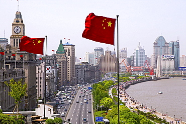 Huangpu River and flag, Shanghai's Prachtbauten, landmark