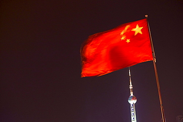 national flag, Oriental Pearl Tower, Pudong, Shanghai, China