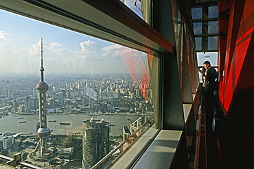 View from Jinmao Tower, Center of Pudong, Huangpu River, Pearl Orient Tower, TV Tower, city centre, Jinmao