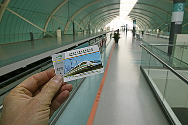 ticket Maglev, ticket, Transrapid, magnetic levitation, Joint, Venture, Siemens, connects Pudong Airport with downtown Shanghai, joint venture, German consortium