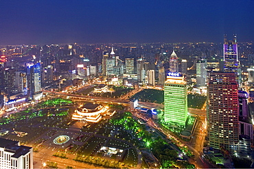 People's Square, Birdseye view of People's Square, Nanjing Road, skyline, City Hall, People's Park, Yan'an Road, Skyline
